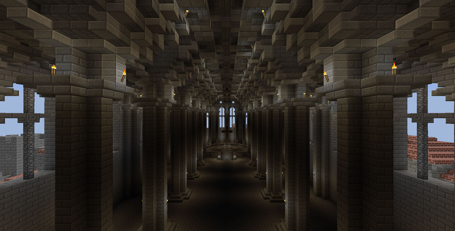 "Captura de pantalla del joc d'ordinador ""Minecraft"", on es mostra l'interior d'una catedral, recreada imitant una catedral gòtica."
